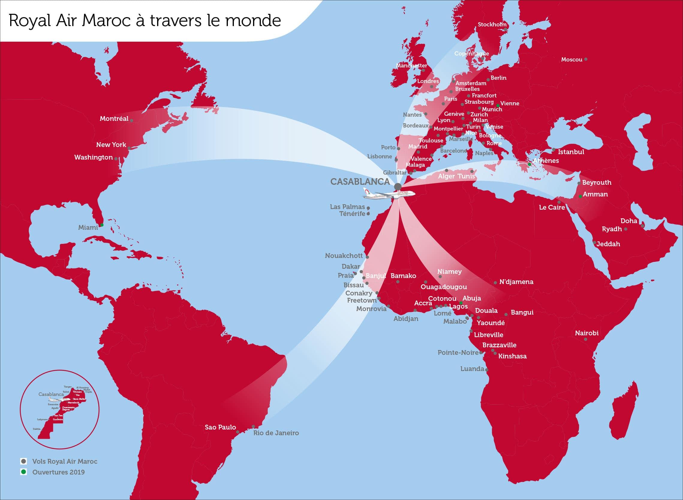الخطوط الملكية المغربية لديها رحلات من الدار البيضاء إلى الوجهات التالية: مونتريال ، نيويورك ، واشنطن ، ميامي ، ساو باولو ، ريو دي جانيرو ، أوروبا and Africa