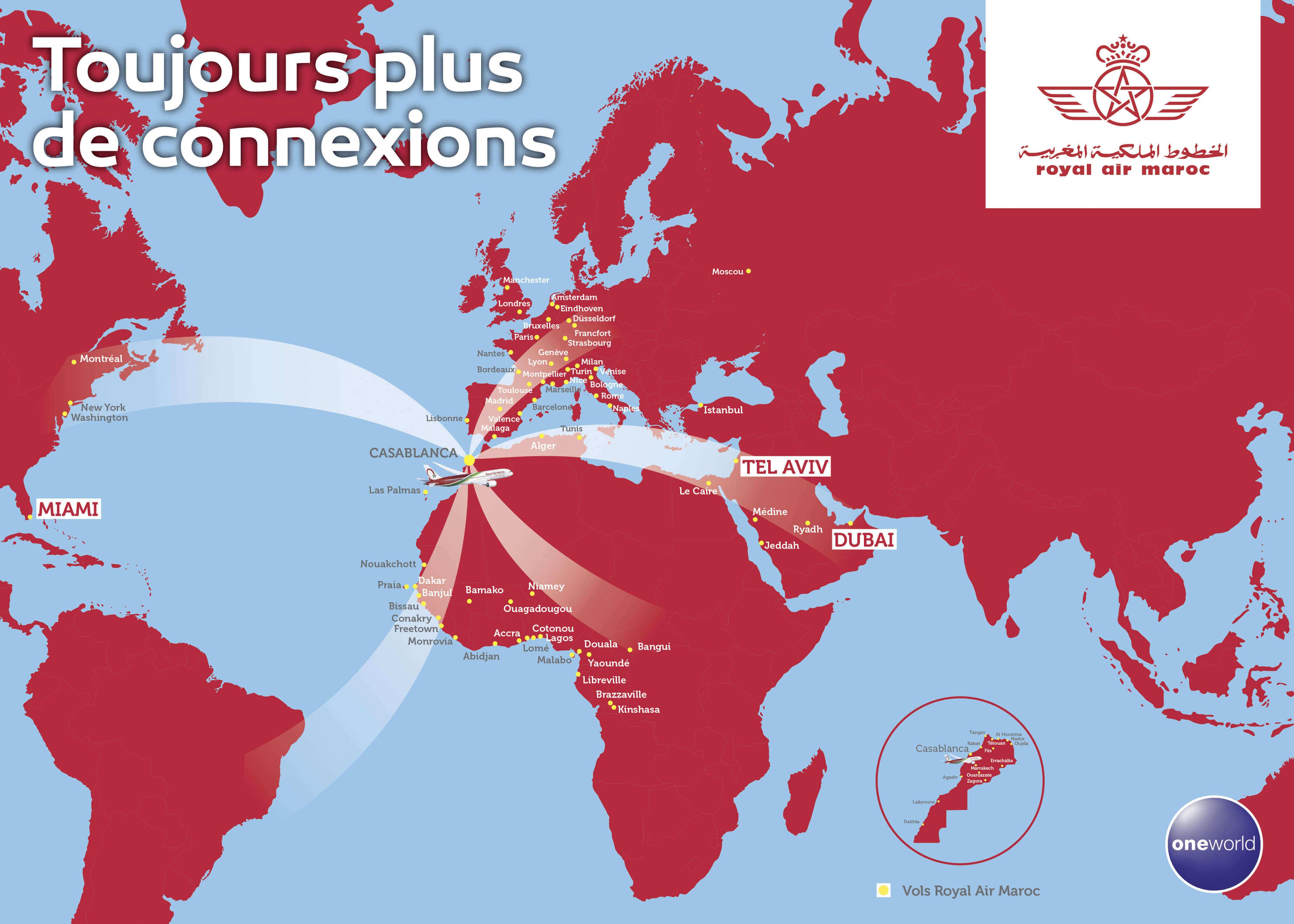 Carte du réseau Royal Air Maroc. Royal Air Maroc propose des vols au départ de Casablanca vers les destinations suivantes : Montréal, New York, Washington, Miami, Sao Paulo, Rio de Janeiro, Europe et Afrique